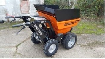 Muck Truck has optional grass tyres to protect the lawn. The 4WD Muck Truck power barrow moves building materials over most terrains. The Muck Truck is used by builders, landscapers and tree surgeons. http://www.fresh-group.com/muck-truck.html