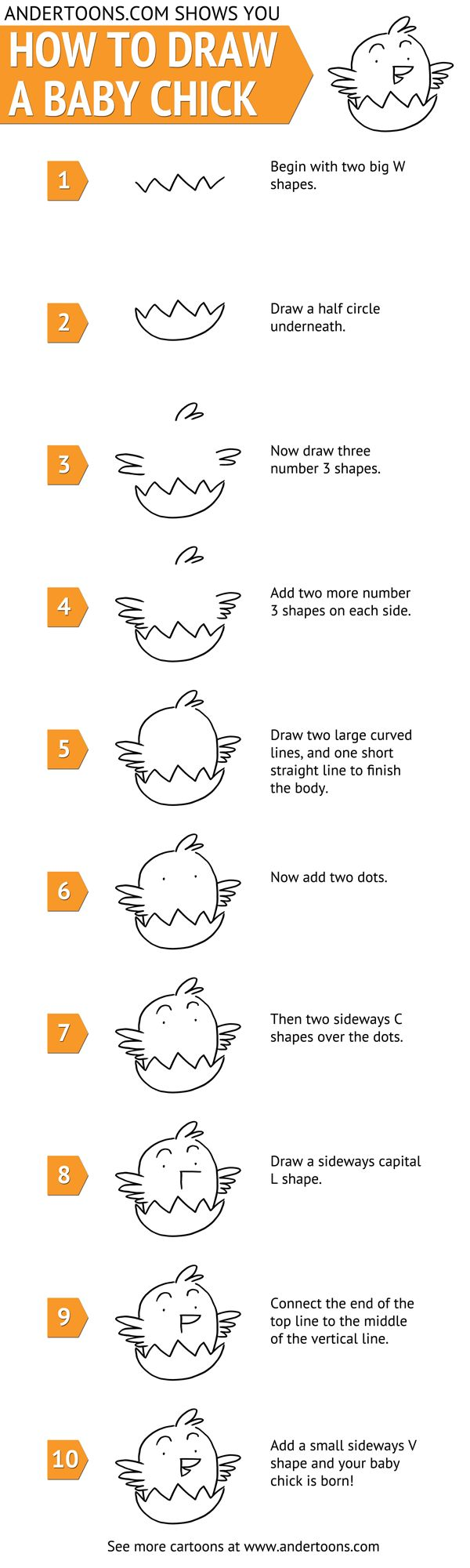 How to draw a cartoon baby chick. Students could use this as an oral language activity with a partner. Give the instructions of how to draw the animal, without identifying it. Can the other student guess the animal from the instructions given.