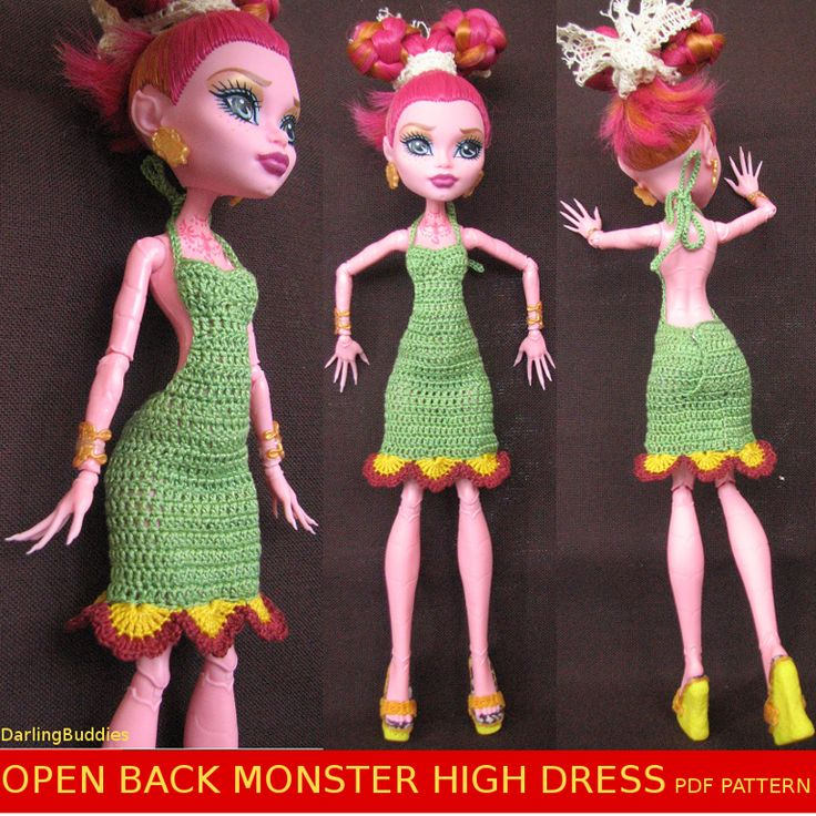 Monster High low back dress - crochet pattern (pdf)