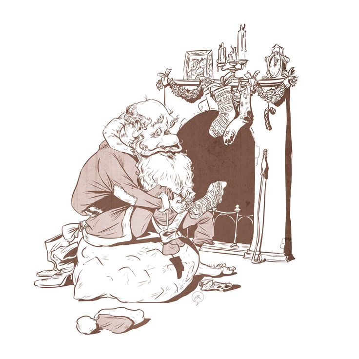 Day 62: Compensation  #illustration #mittroshin  #characterdesign #santaclaus #sock #gifts #fireplace