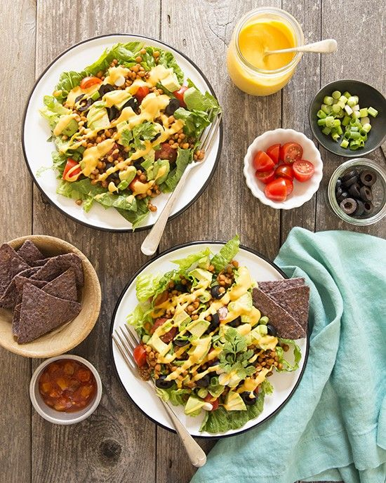 Taco Salad with Spicy Lentils and Easy Vegan Cheese Sauce | A Dash of Compassion