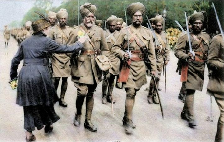 As Britain and France waged war against Germany in Europe and in Africa, Britain called upon help from her Imperial troops. Indian soldiers in the Indian Army arrived in Europe from September 1914
