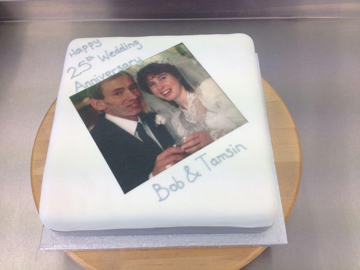 A 25th wedding anniversary cake