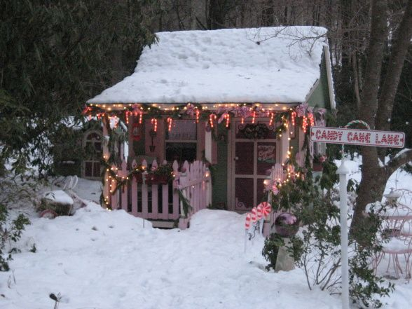 Faeryhollows Santas Workshop 2010... potting shed is transformed into a magical extension of the North Pole at Christmas
