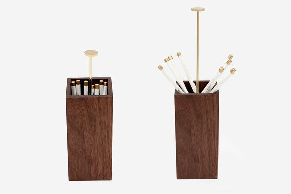 walnut pencil cup - works like an old-school straw dispenser