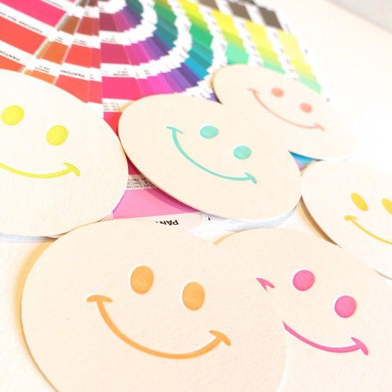 , 80's theme, Childrens party decoration, paper coasters, retro smiley face, x6, table decoration, colourful, hostess gift  A popular icon from the 80's. These multi-colour... #handmade #letterpress #shopetsy #etsyseller #ephemera #tabledecor #neon #makeforgood ➡️ http://jto.li/V3ppB