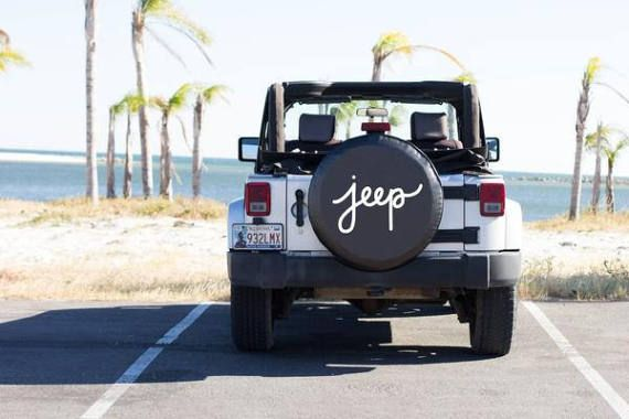 Jeep Cursive Spare Tire Cover, Jeep Wrangler, Jeep Liberty, Calligraphy Cover, Vinyl Tire Cover, Black and White