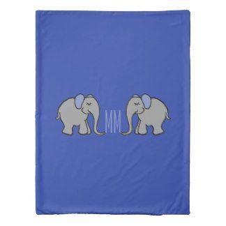 Cute Grey Elephants Monogram Reversible Blue Duvet Cover
