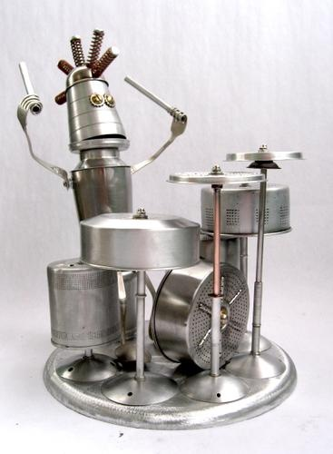 Topper - found object robot assemblage sculpture