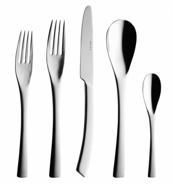 Solex Sophia Flatware: Flared handles and smooth shoulders give this cutlery set a distinctive profile. The knife's curved handle is especially distinctive, but the curvature of the spoons will likely draw comments as well.
