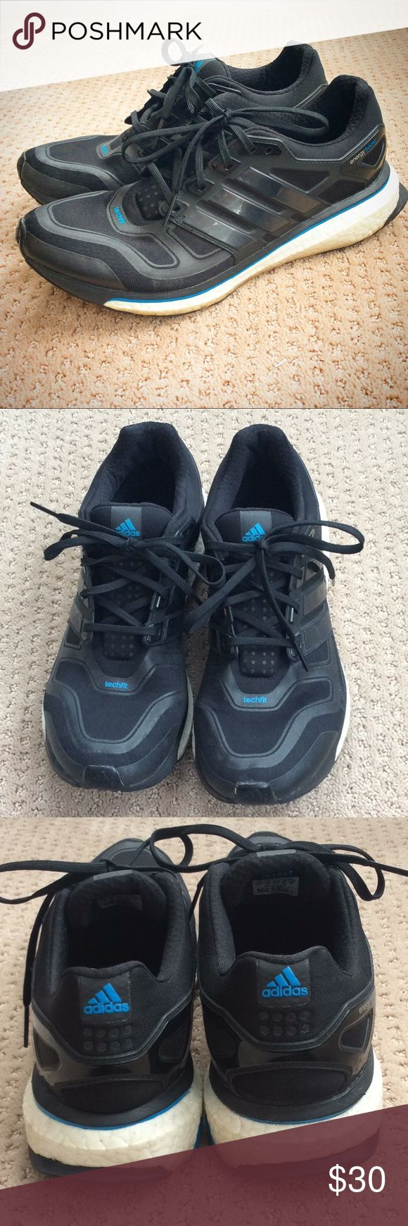 Adidas Energy Boost Size 10.5. These were worn about 15 times on turf football fields. They have a little bit of a worn feel by the bottom and where the letters are worn off on the insole, but they still have plenty of life left in them. They have zero odor inside. adidas Shoes Sneakers