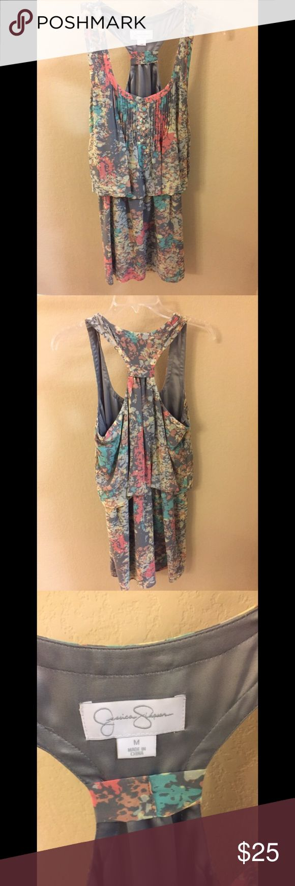 Gray & Floral Jessica Simpson mini dress Even cuter on! Lightweight and perfect for summer Jessica Simpson Dresses Mini