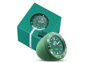 Lolliclock Rock Green. The ultimate desk accessory or gift. 44mm, ABS Polycarbonite case + PC Rock backcover, 1ATM, PC21S movement. Buy online at www.lolliclock.com.au
