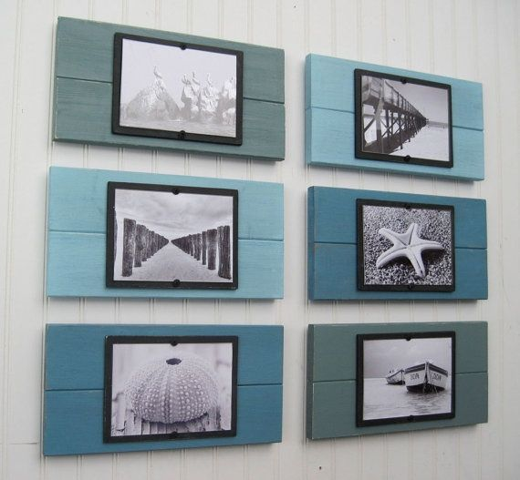 Shabby Chic + coastal. wall art ideas. family beach pictures? maybe in sepia tones instead of BW? could make it look even more shabbier-chic-ier by using pallet would, so the boards don't stick together quite so evenly...