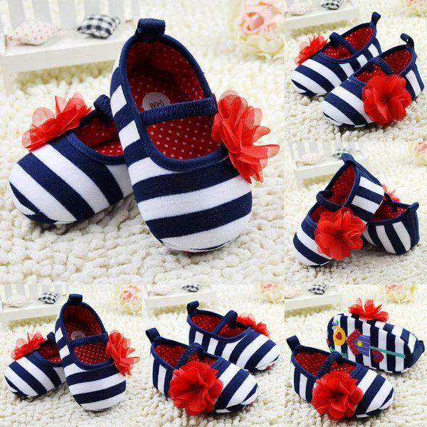 Infant Toddler Stripe Flower Crib Shoes Soft Sole Kid Girls Baby Shoes Prewalker…