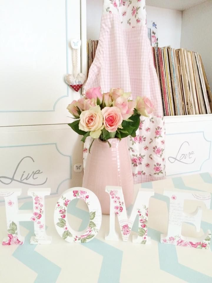 """Chic """"HOME"""" wooden letters decoupaged #decoupage #letters #home #diy #shabby #shabbychic See more on https://www.facebook.com/CredentulVesel"""