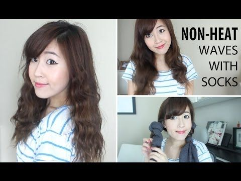 ▶ NON-HEAT WAVES WITH SOCKS + TIGHTS - YouTube. love the soft big waves! so pretty :)