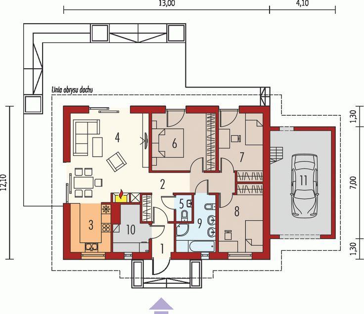 dom parterowy, niepodpiwniczony z wiatą garażową Przeznaczenie: dom dla 3-4-osobowej rodziny