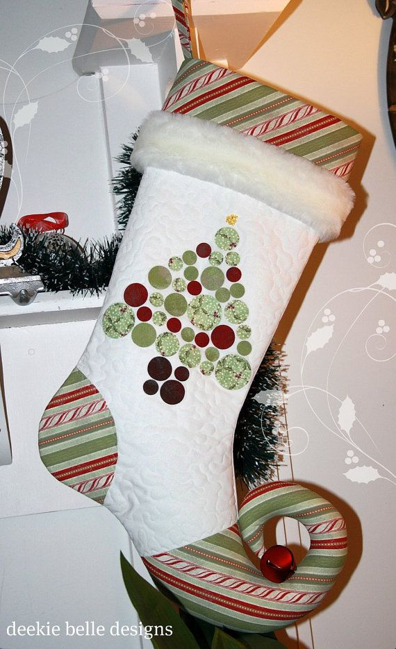 Christmas stocking - without the curly toe and a more accented cuff. Add a monogram (R & H) and garland trim.