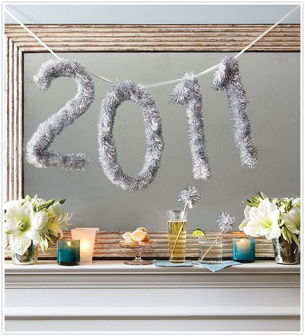 Tinsel number banner for New Year's! party tinsel newyear