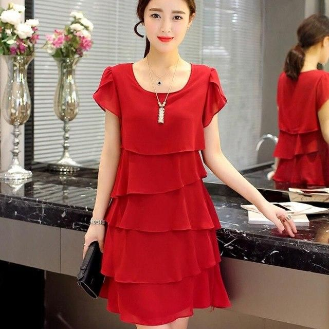 04e1c5f0ee2 2018 New Women Plus Size 4XL Summer Dress Loose Chiffon Cascading Ruffle  Red Dresses Causal Ladies