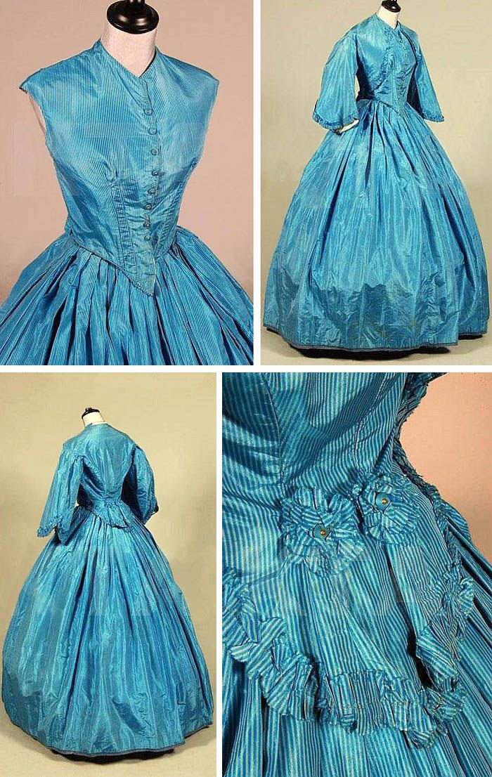 Striped blue silk taffeta walking gown, ca. 1861. Sleeveless bodice with pointed waist and silk-covered buttons; bolero-type jacket with pagoda sleeves edged in taffeta ruffles and similarly trimmed rear tails; and matching skirt with wool braid at hemline. Kerry Taylor Auctions/Artfact