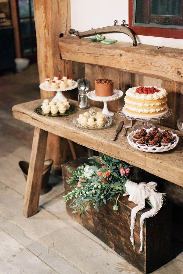 Charming rustic dessert buffet