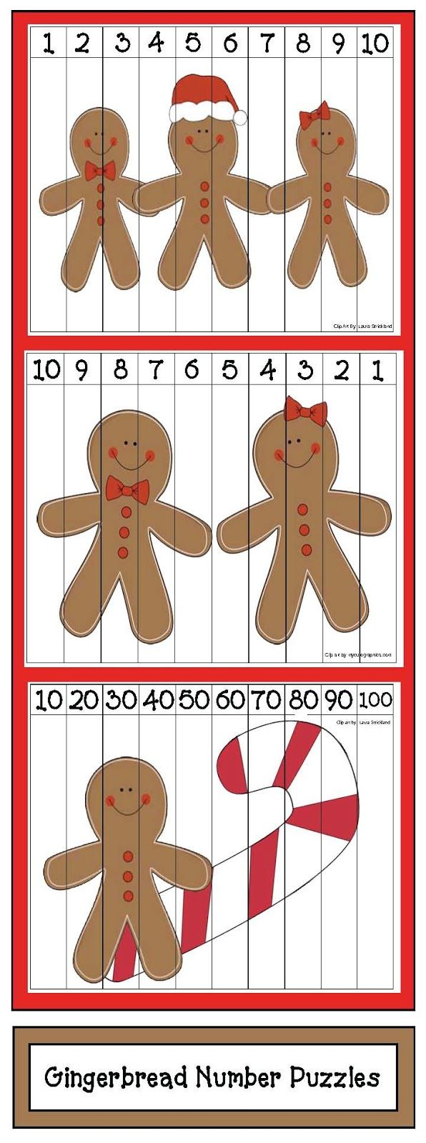Classroom Freebies: Gingerbread Number Puzzles