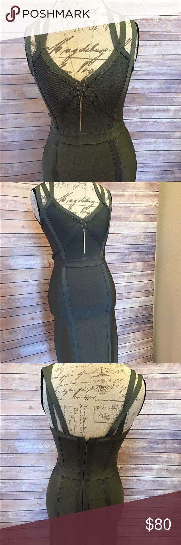 Bebe bandage dress Army green Bebe bandage dress, form fitting and very curve flattering. NWOT bebe Dresses Midi