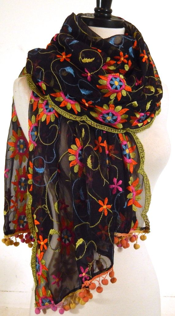 Embroidered Shawl, Floral Wrap, Black Chiffon Scarf, Sheer Scarf, Indian Sari Shawl, Fringed Silk Shawl
