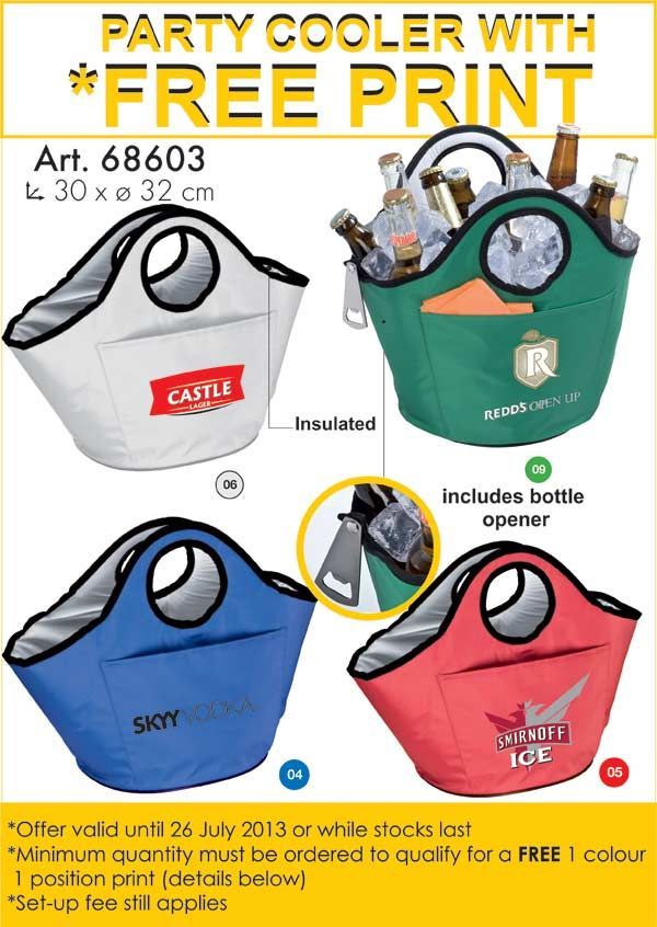 We love these! Especially for a liquor brand! Even a corporate gift for your clients over Christmas - its another useful gift. You will have those bags down at the pool, at the beach even. Insulated, and includes bottle opener! How smart!