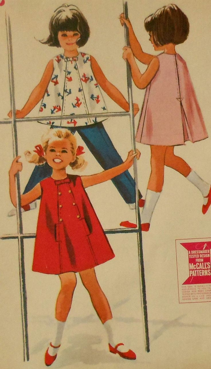 Vintage 1960s Toddler Girls Flared Dress Top and Pants Sewing Pattern Size 2 McCalls 7194. $15.00, via Etsy.