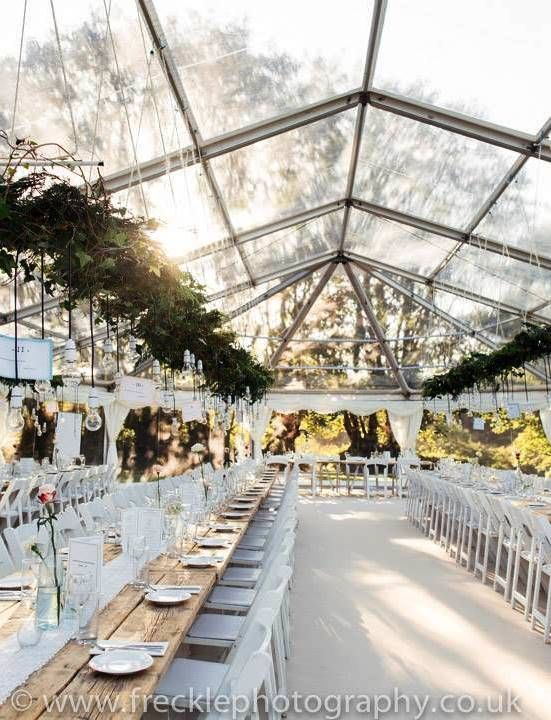 Clear roof wedding marquee decorated with stunning foliage and lots of hanging light bulbs. Looks AMAZING!: