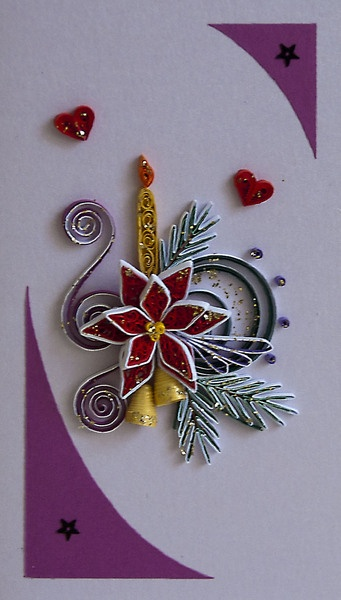 This card is completely handmade by Quilling technique. It is unique, designed and made by me in a single copy and bond paper. Masking tapes are ...