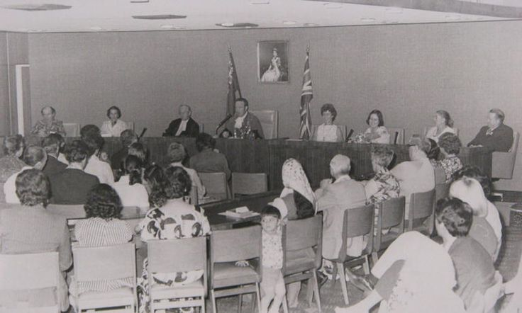 Willoughby Council Citizenship Ceremony In Council Chambers . Australia Day, 1977. Mayor Noel Reidy presiding with Town Clerk L. Woodward