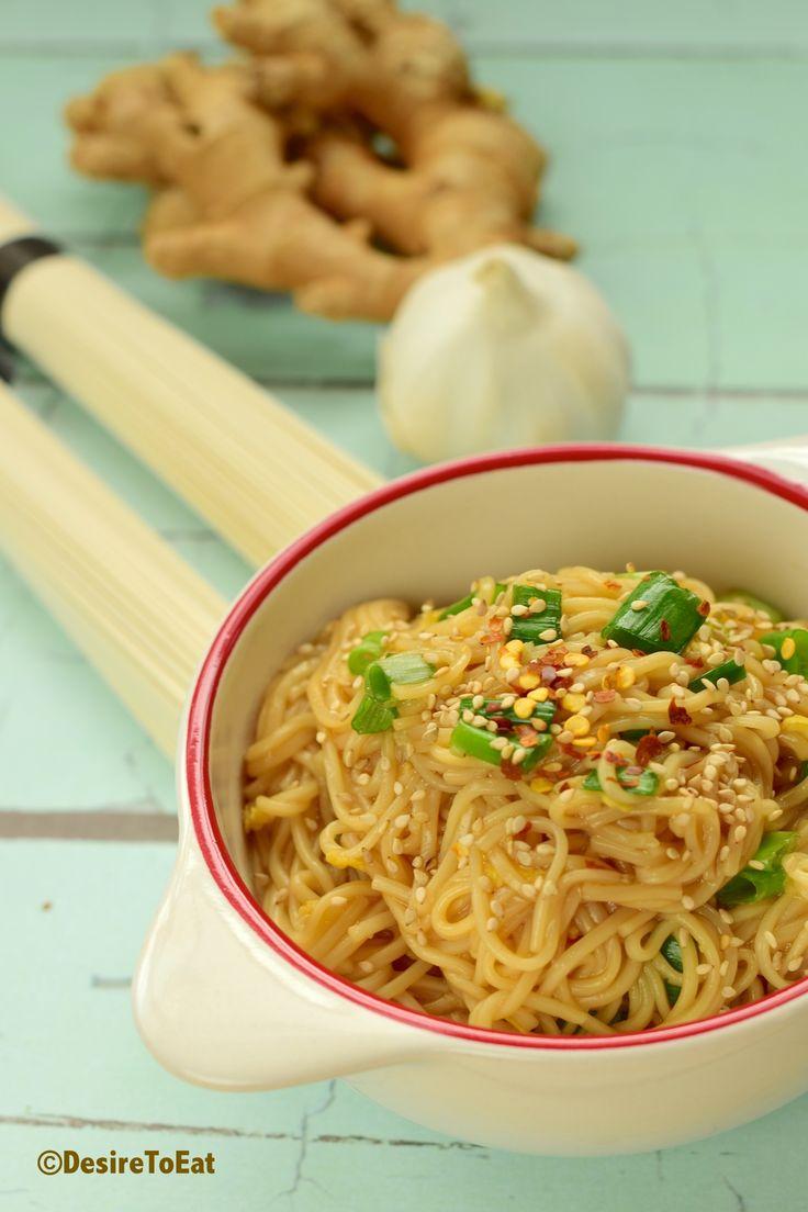 Somen noodle with ginger garlic sesame soy sauce - add cucumber, scallion, edamame, radish and cilantro