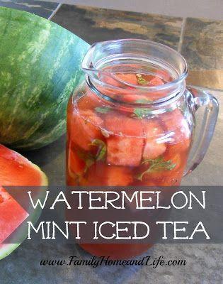 Watermelon Mint Iced Tea - Add Sugar Twin for desired sweetness. #watermelon #mint #icedtea