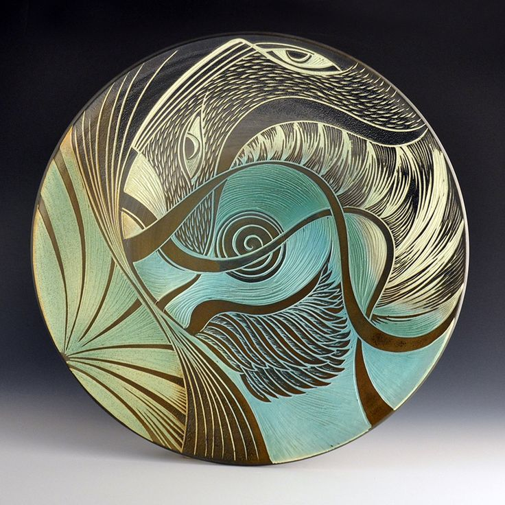 "Natalie Blake Studios 2015 ""Parting Clouds to the Other Side"" ~ handmade hand carved porcelain platter"