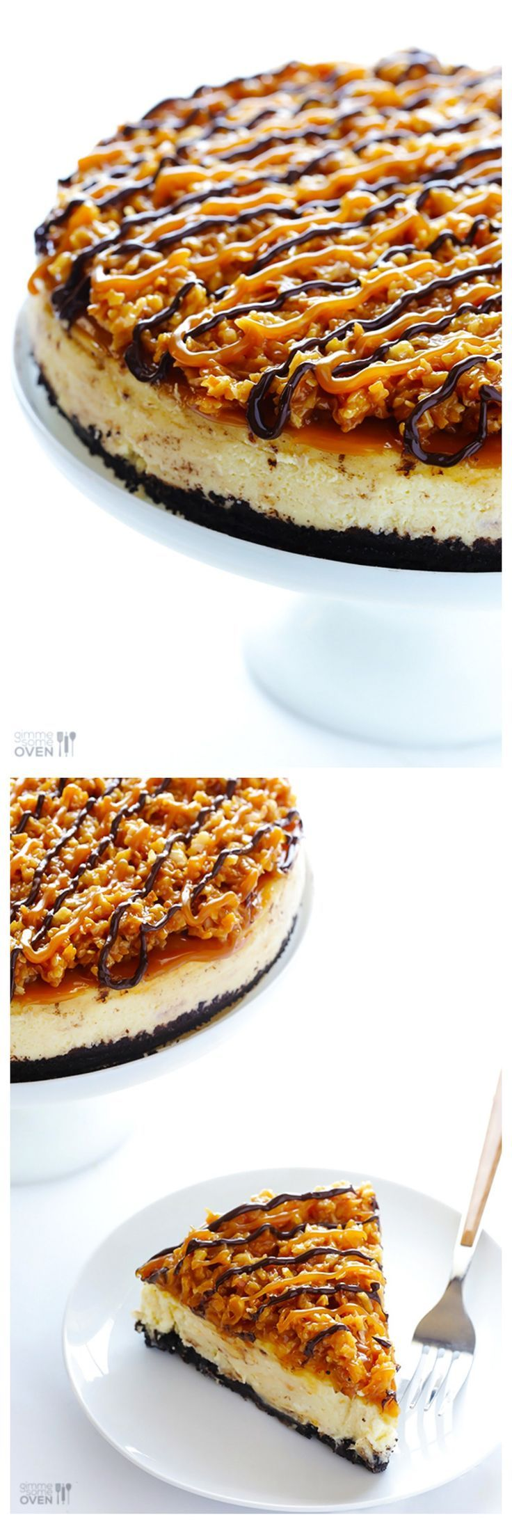 Samoa Cheesecake (a.k.a. Caramel DeLite Cheesecake) -- simple to make, and inspired by the famous Girl Scout cookies! gimmesomeoven.com #dessert