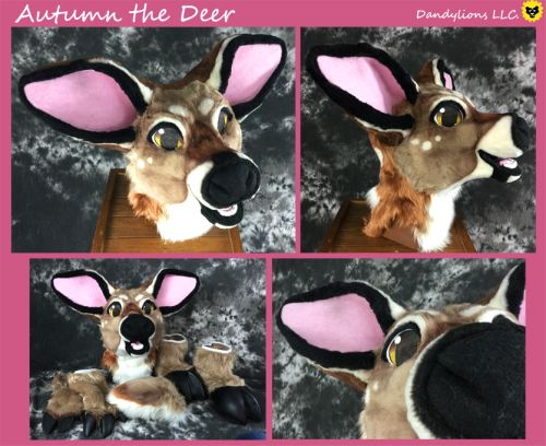 This is Autumn a whitetail deer partial (head, gloves, tail, and hooves)-Foam based head!-Epoxie teethDreamvisionCreations - toony hooves and cloppers.