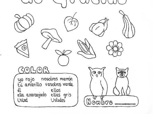 Spanish fun Thanksgiving color by conjugation to practice