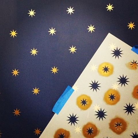 Stars in our eyes! The studio team is working on the background for our Hometalk Google+ Hangout tomorrow (11/12 at 2pm,est) with the Starry Night Stencil. We'll be live in the studio with tips, tutorials & answering stencil Qs! Link has details!