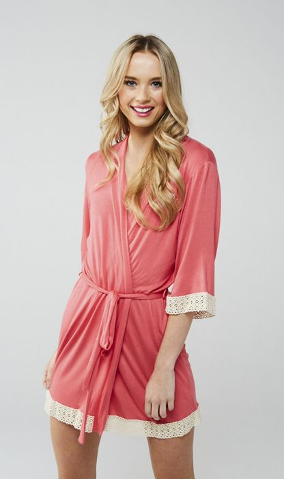 Sweet coral hued serendipity robe with vintage inspired crochet trim, worn by the Bachelorette Emily Maynard!
