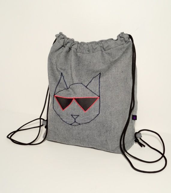 Denim sack bag with a like a boss cat  FREE shipping