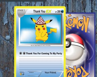 Pokemon,pokemon trading card, Pokemon thank you, Pokemon card, Pokemon birthday, Pokemon Party, Pokemon go, Pikachu, Pokemon Printables