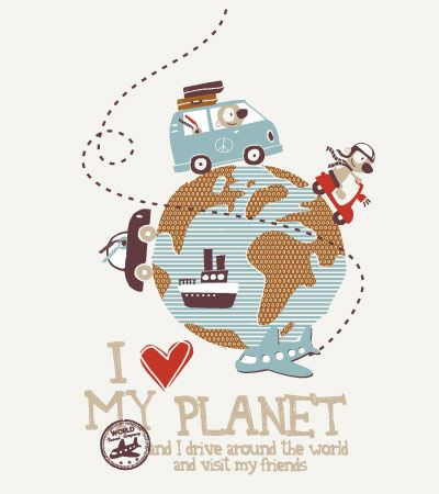 Around the planet | Kidsfashionvector | cute vector art for kids clothes