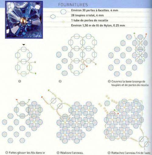Схема плетения колец из бисера