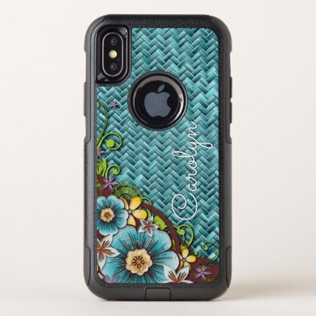 Custom Yellow Turquoise Summer Floral Weave Motif OtterBox Commuter iPhone X Case - tap to personalize and get yours