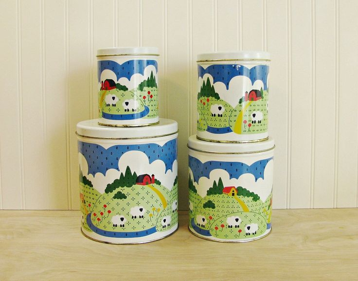 Vintage Kitchen Canister Set Farm Canisters Nina Canisters Metal Canister Set Farmhouse Canisters Farm Kitchen Toy Storage Craft Storage by HipCatRetroVintage on Etsy