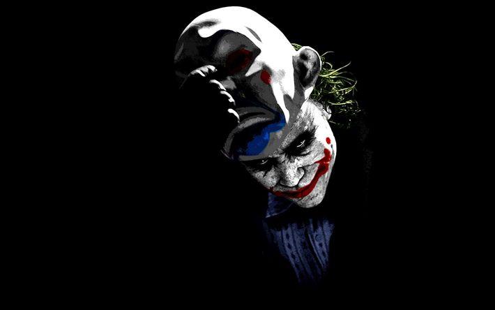 Hämta bilder Joker, 4k, superskurken, konst, minimal, svart bakgrund